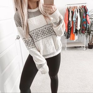 Vintage Chunky Cable Oversized Crewneck Sweater